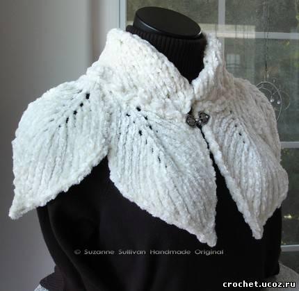 вязание спицами из плюшевой пряжи снуд